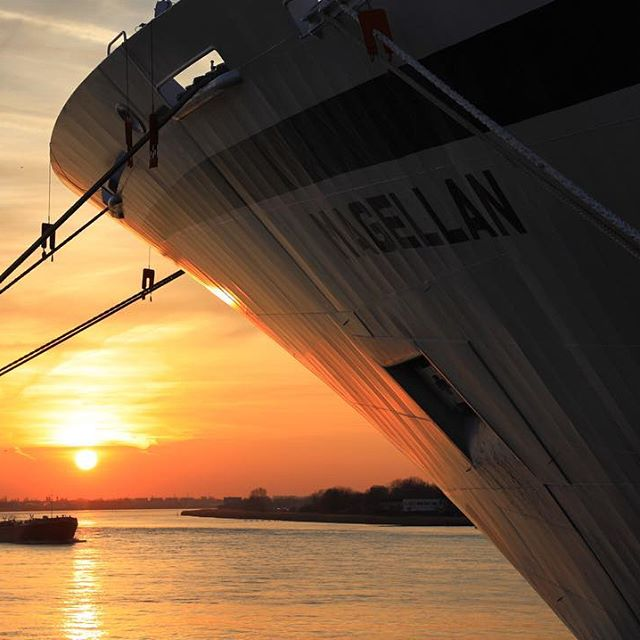Samenspel tussen de Schelde, de zon en cruiseboot Magellan eerder deze avond #antwerpen #visitantwerp #cruiseshipmagellan #schelde #zonsondergang